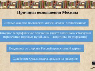 Причины возвышения Москвы Личные качества московских князей: ловкие, хозяйств