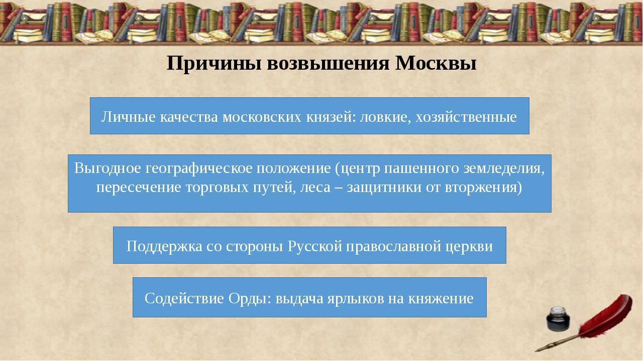 Причины возвышения Москвы Личные качества московских князей: ловкие, хозяйств...