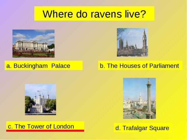 Where do ravens live? a. Buckingham Palace b. The Houses of Parliament c. The...
