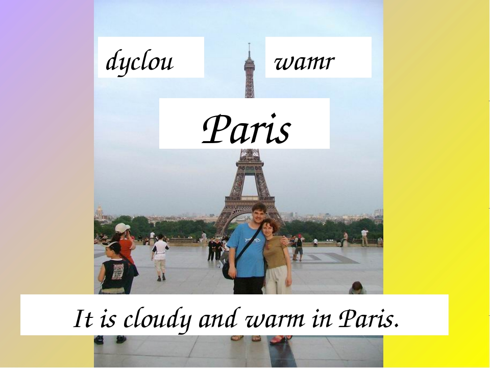 Paris It is cloudy and warm in Paris. dyclou wamr