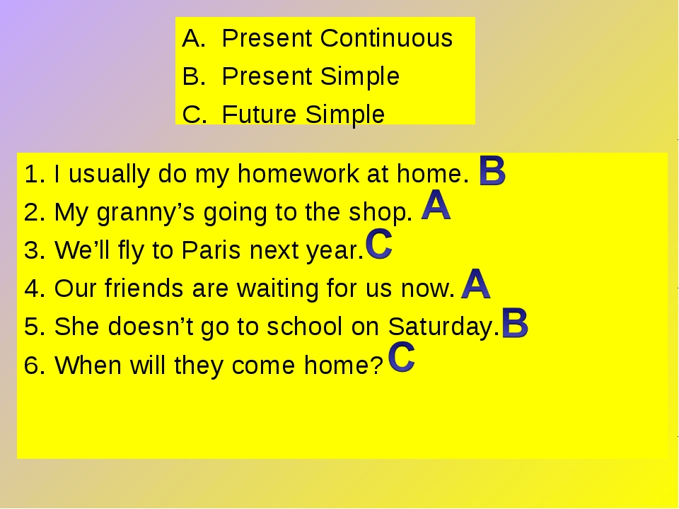 Present Continuous Present Simple Future Simple 1. I usually do my homework a...