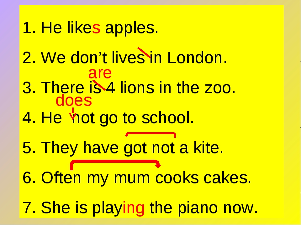 1. He likes apples. 2. We don't lives in London. 3. There is 4 lions in the z...
