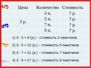 1) 3 · 3 = 9 (р.) – стоимость 3 пакетиков. 2) 3 · 5 = 15 (р.) – стоимость 5 п