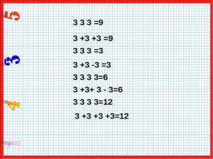 3 3 3 =9 3 +3 +3 =9 3 3 3 =3 3 3 3 3=6 3 +3 -3 =3 3 +3+ 3 - 3=6 3 3 3 3=12 3