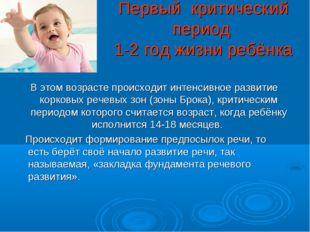 Первый критический период 1-2 год жизни ребёнка В этом возрасте происходит ин