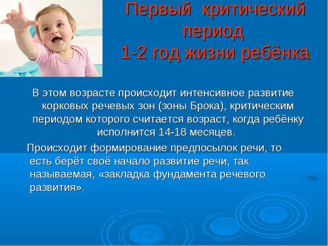 Первый критический период 1-2 год жизни ребёнка В этом возрасте происходит ин...