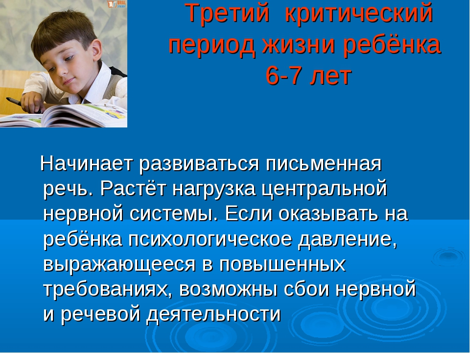 Третий критический период жизни ребёнка 6-7 лет Начинает развиваться письменн...