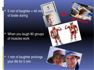 = 40 minutes 5 min of laughter = 40 min of brake during When you laugh 80 gro