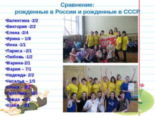 Сравнение: рожденные в России и рожденные в СССР Валентина -2/2 Виктория -2/2