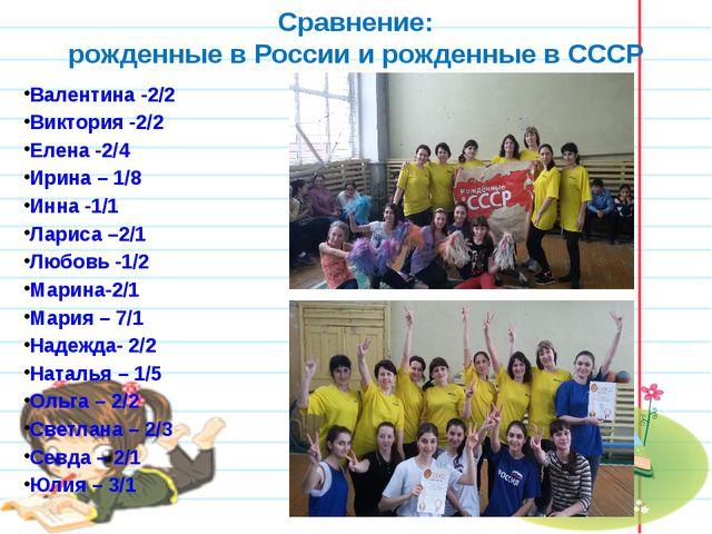 Сравнение: рожденные в России и рожденные в СССР Валентина -2/2 Виктория -2/2...