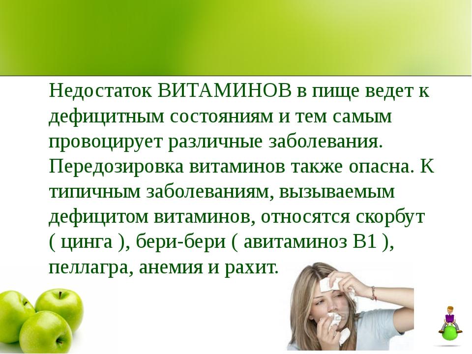 Недостаток ВИТАМИНОВ в пище ведет к дефицитным состояниям и тем самым провоци...