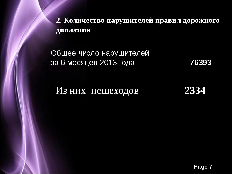 2. Количество нарушителей правил дорожного движения Общее число нарушителей з...