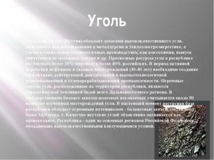Уголь Республика Саха (Якутия) обладает запасами высококачественного угля, пр