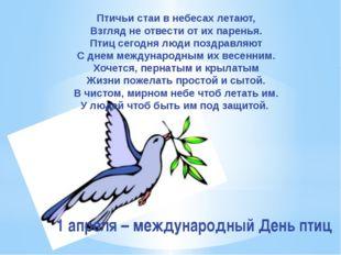Птичьи стаи в небесах летают, Взгляд не отвести от их паренья. Птиц сегодня л