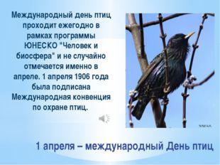 1 апреля – международный День птиц Международный день птиц проходит ежегодно