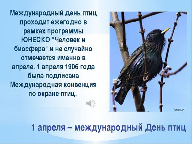 1 апреля – международный День птиц Международный день птиц проходит ежегодно...