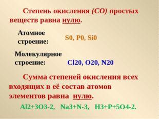 Степень окисления (СО) простых веществ равна нулю. S0, P0, Si0 Cl20, O20, N2