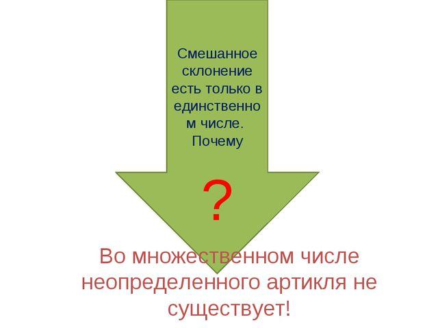 Смешанное склонение есть только в единственном числе. Почему ? Во множествен...