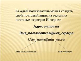 Каждый пользователь может создать свой почтовый ящик на одном из почтовых сер
