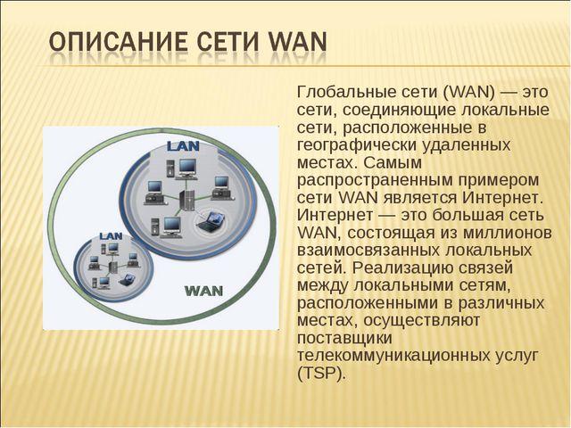 Глобальные сети (WAN) — это сети, соединяющие локальные сети, расположенные...