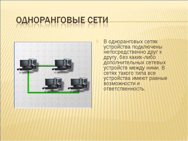 В одноранговых сетях устройства подключены непосредственно друг к другу, без...