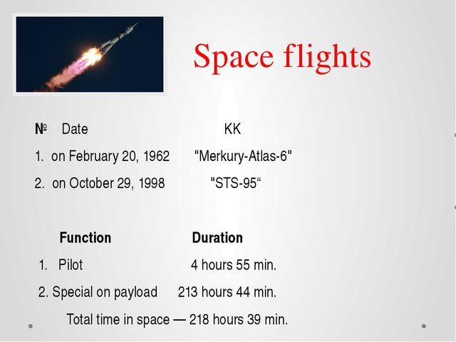 "Space flights № Date KK 1. on February 20, 1962 ""Merkury-Atlas-6"" 2. on Octob..."