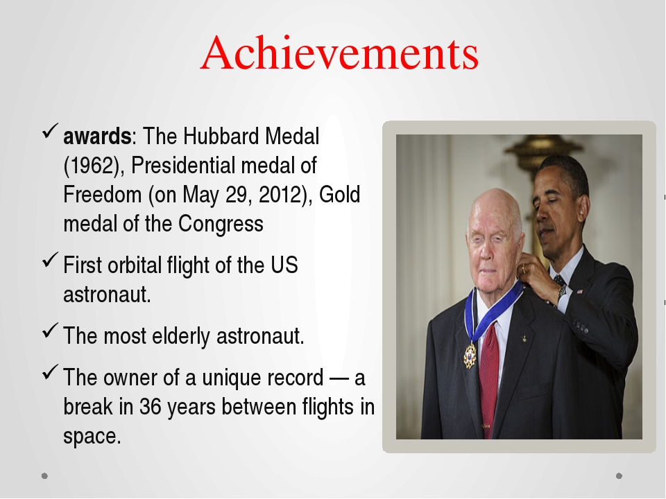 Achievements awards: The Hubbard Medal (1962), Presidential medal of Freedom...