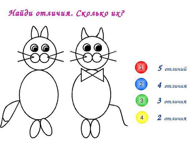 3 отличия 4 отличия 5 отличий Найди отличия. Сколько их? 1 2 3 4 2 отличия