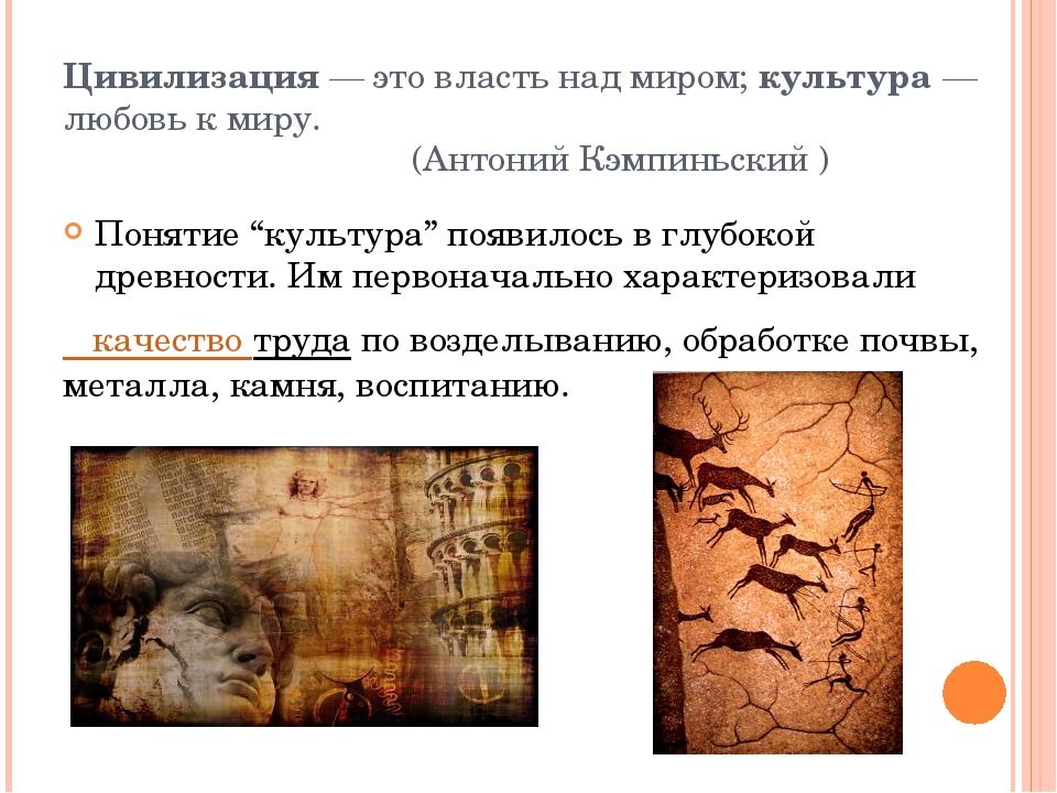 Цивилизация— это власть над миром;культура— любовь к миру. (Антоний Кэмпин...