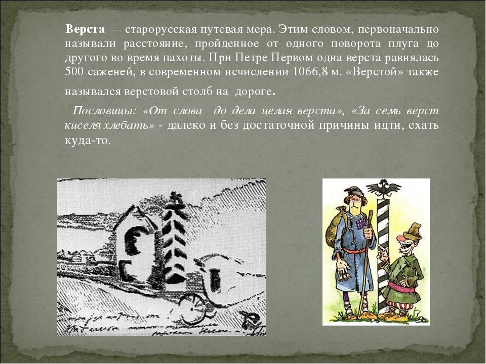 Верста — старорусская путевая мера. Этим словом, первоначально называли расс...