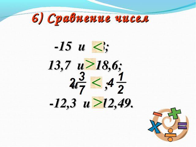 6) Сравнение чисел -15 и 28; 13,7 и -18,6; и ; -12,3 и -12,49.