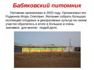 Бабяковский питомник Питомник организован в 2003 году.Организовал его Родион