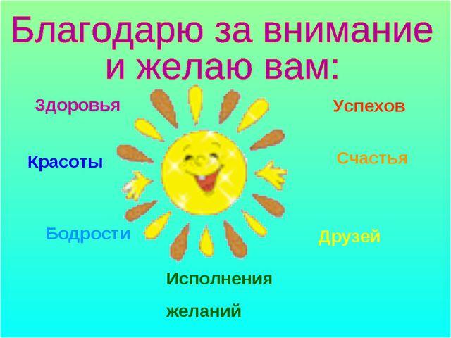 Здоровья Красоты Бодрости Успехов Счастья Друзей Исполнения желаний
