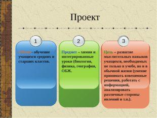 Проект 1 Объект- обучение учащихся средних и старших классов. 2 Предмет – хим