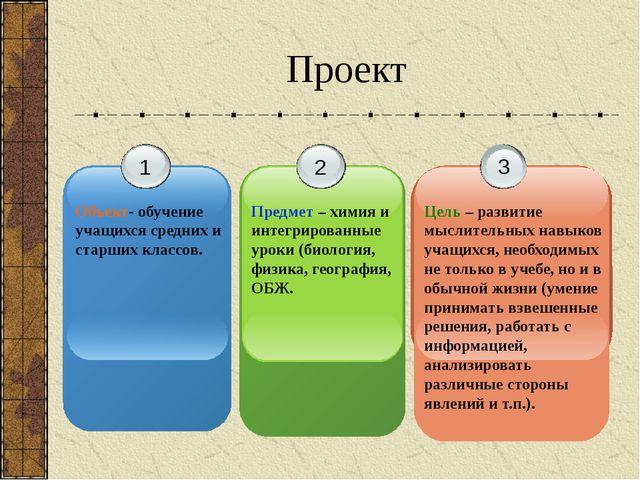 Проект 1 Объект- обучение учащихся средних и старших классов. 2 Предмет – хим...