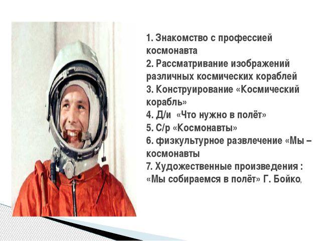1. Знакомство с профессией космонавта 2. Рассматривание изображений различных...