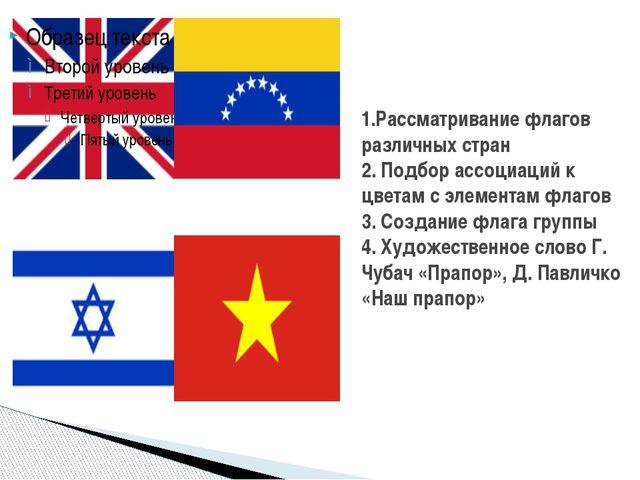1.Рассматривание флагов различных стран 2. Подбор ассоциаций к цветам с элеме...