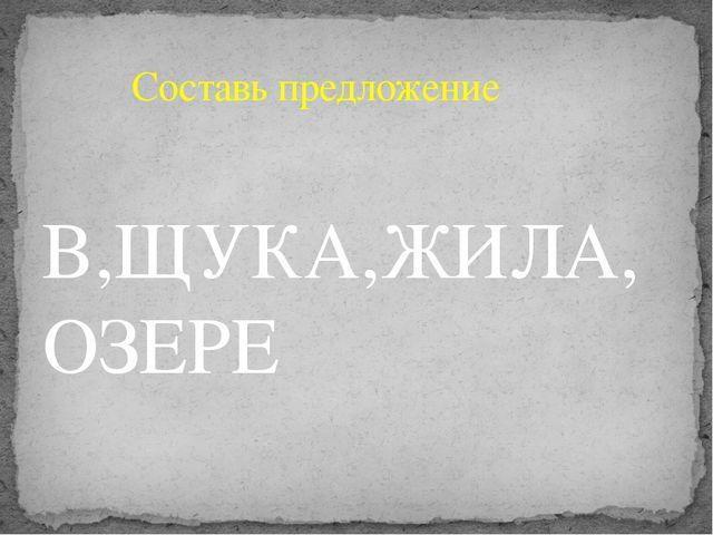 В,ЩУКА,ЖИЛА,ОЗЕРЕ Составь предложение