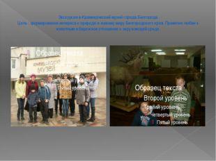 Экскурсия в Краеведческий музей города Белгорода Цель : формирование интереса