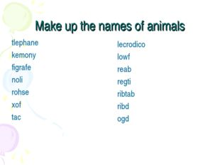 Make up the names of animals tlephane		 kemony figrafe noli rohse xof tac lec