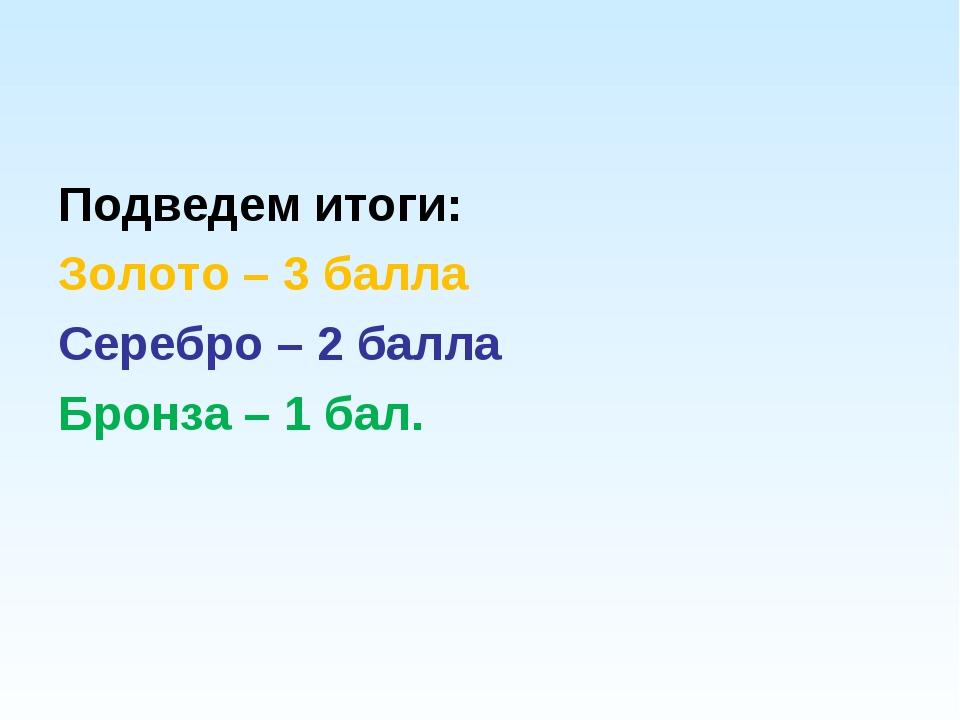 Подведем итоги: Золото – 3 балла Серебро – 2 балла Бронза – 1 бал.