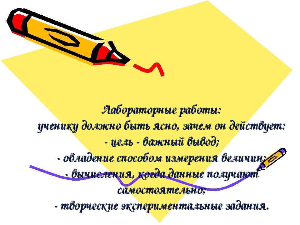 Лабораторные работы: ученику должно быть ясно, зачем он действует: - цель - в...