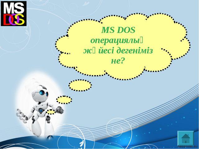 MS DOS операциялық жүйесі дегеніміз не?