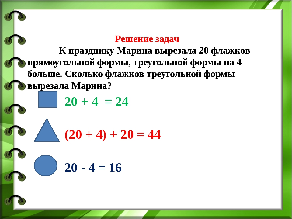 Решение задач  К празднику Марина вырезала 20 флажков прямоугольной формы...