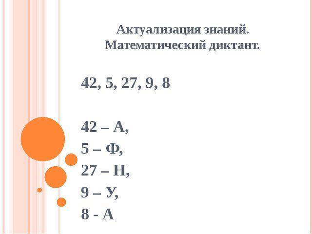 Актуализация знаний. Математический диктант. 42, 5, 27, 9, 8 42 – А, 5 – Ф, 2...