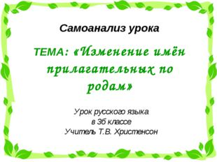 ТЕМА: «Изменение имён прилагательных по родам» Урок русского языка в 3б класс