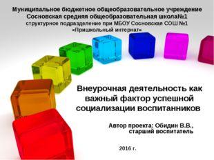 Автор проекта: Обидин В.В., старший воспитатель Муниципальное бюджетное общео