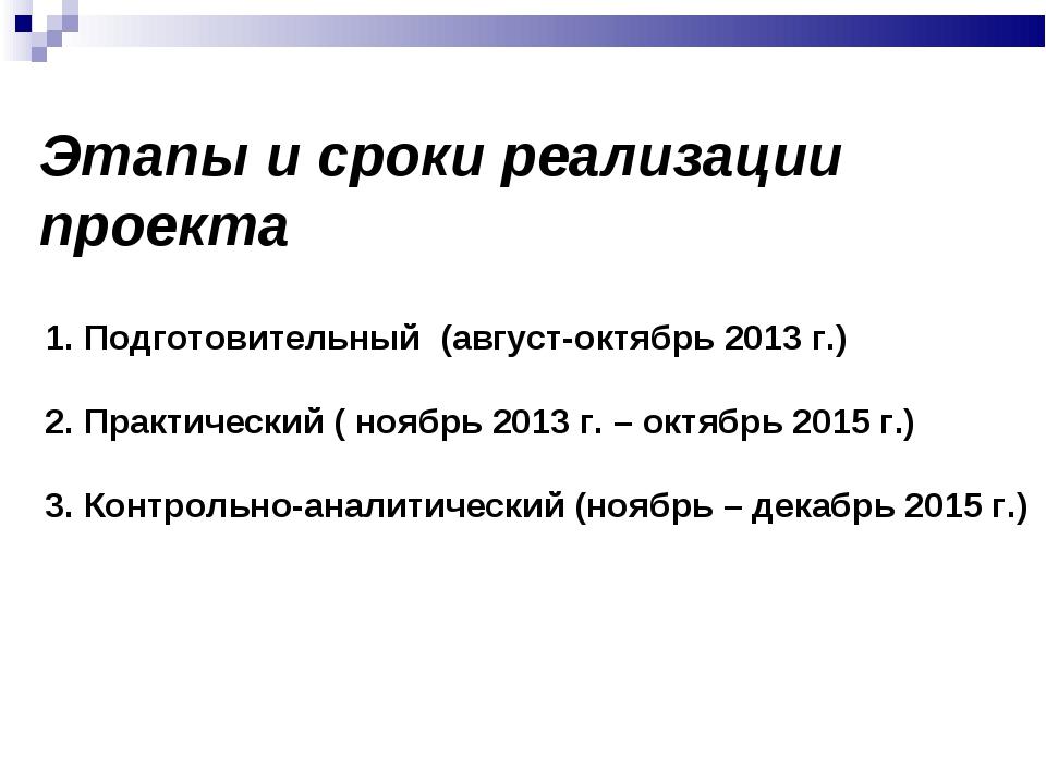 Этапы и сроки реализации проекта 1. Подготовительный (август-октябрь 2013 г.)...