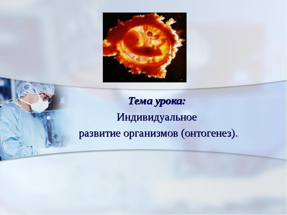 Тема урока: Индивидуальное развитие организмов (онтогенез).