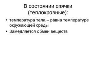 В состоянии спячки (теплокровные): температура тела – равна температуре окруж